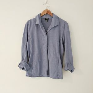 Eileen Fisher Blue Button Front Cotton Jacket